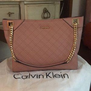 Blush pebbled leather Calvin Klein satchel